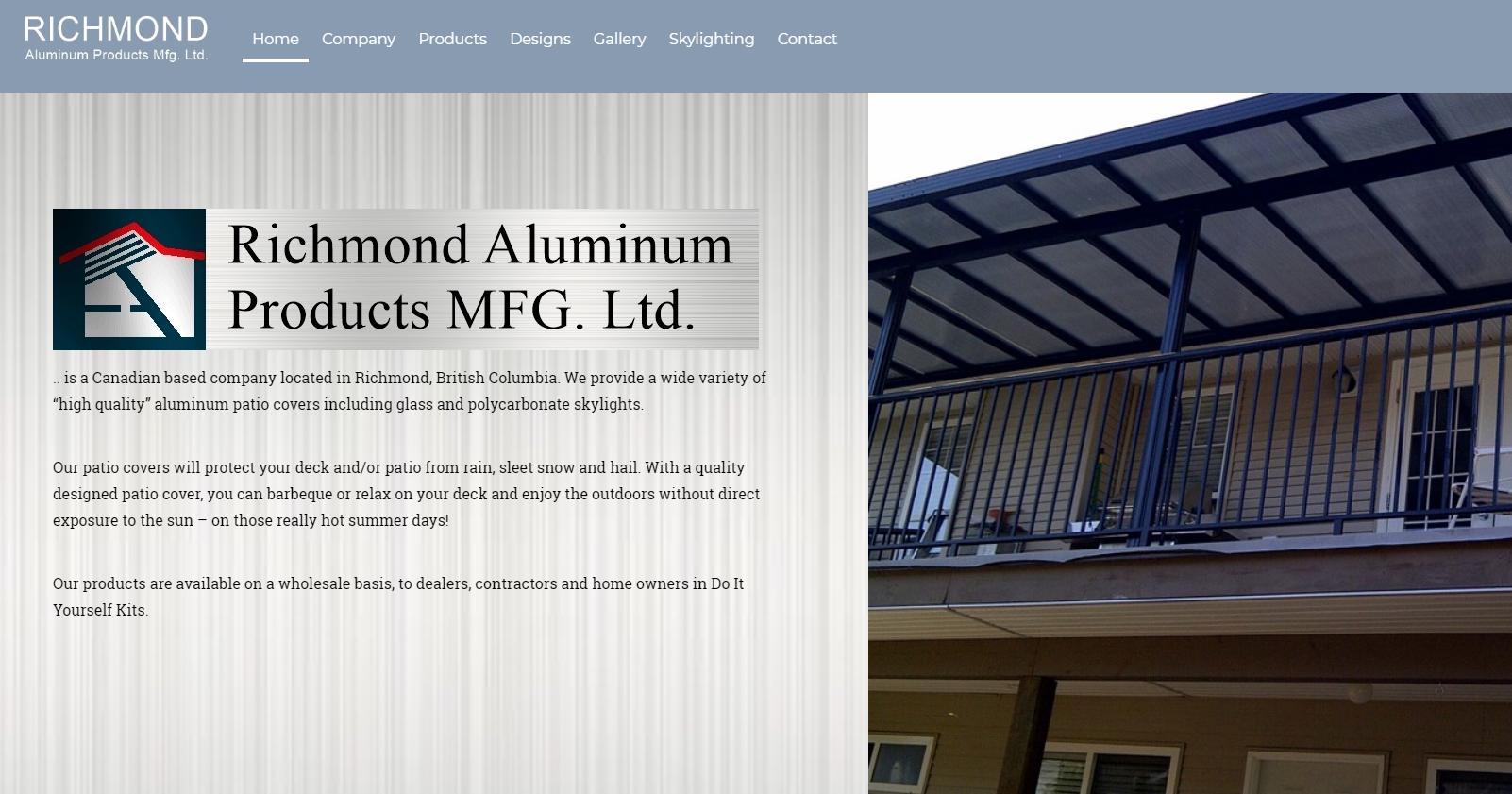Richmond Aluminum Products Mfg Ltd Tel 001 604 821 0839